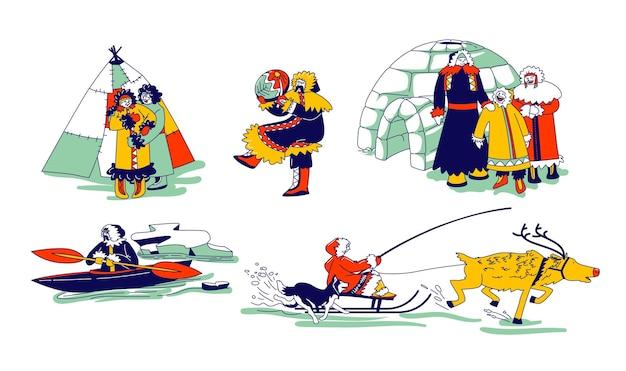 Personajes esquimales con ropas tradicionales y animales árticos ciervos y perros