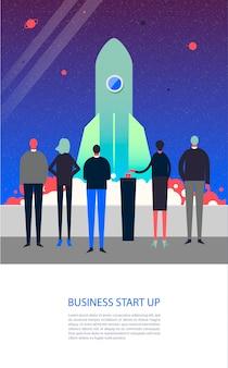 Personajes estilizados. ilustración de negocios. concepto de puesta en marcha. lanzamiento de cohete