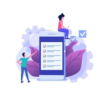 Personajes de estudiantes estudiando. examen en línea, concepto de cuestionario de internet.