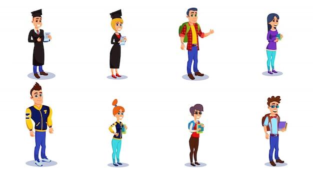 Personajes de estudiantes en graduación, ropa casual.