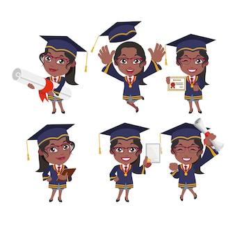 Personajes de estudiantes graduados con diferentes poses.