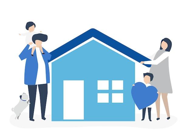 Personajes de una familia cariñosa y su ilustración de la casa.