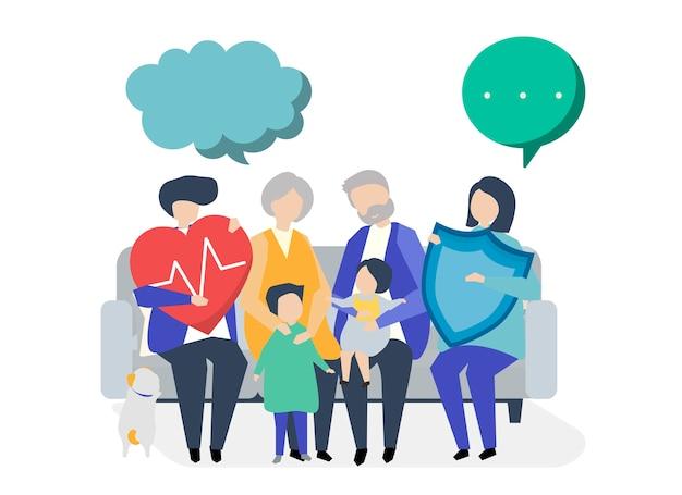 Personajes de una familia extensa con ilustración sanitaria.