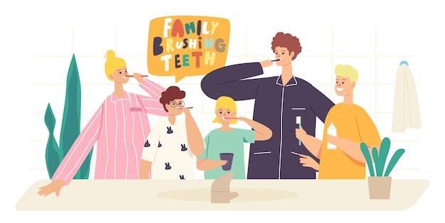 Personajes de familia feliz se cepillan los dientes. cuidado dental para padres e hijos, higiene bucal en el baño. madre, padre e hijos con cepillo de dientes y pasta de cepillarse los dientes. ilustración de vector de gente de dibujos animados
