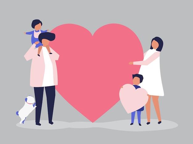 Personajes de una familia con una ilustración de forma de corazón
