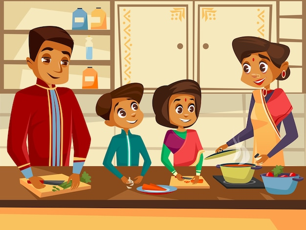 Personajes de familia indios de dibujos animados de cocina en el concepto de cocina juntos.