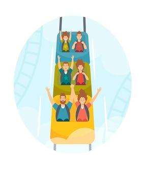 Personajes familiares montando montaña rusa en el parque de atracciones. hombres, mujeres y niños adultos emocionados en los autos de montaña rusa