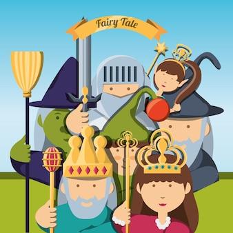 Personajes de fantasía de cuento de hadas y tema mágico