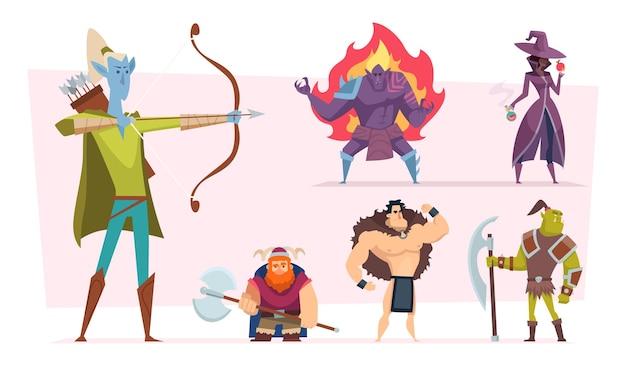 Personajes de fantasía. humanos y criaturas de cuento de hadas