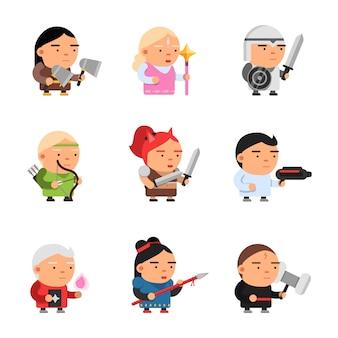 Personajes de fantasía de juego, computadora 2d juegos de cuento de hadas mascota sprite dibujos animados caballero soldados elf rpg shooter vector