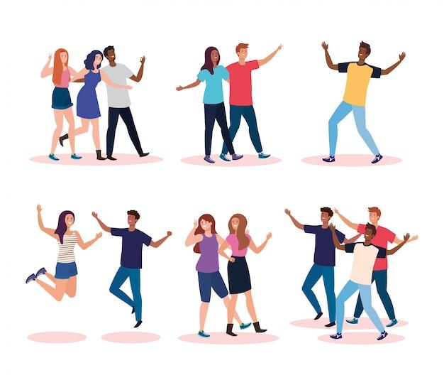 Personajes felices, grupo de jóvenes, entusiasmo por la amistad, risas alegres de felicidad.