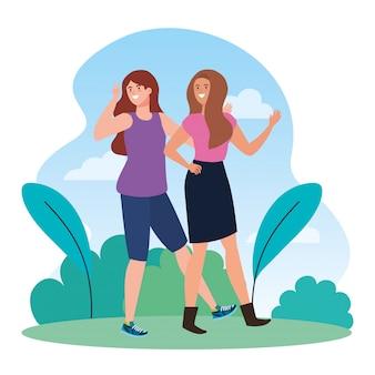 Personajes felices, grupo de mujeres jóvenes, entusiasmo por la amistad, risas alegres de la felicidad en el paisaje.