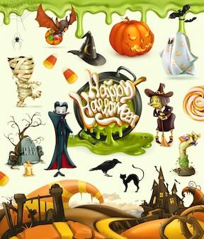 Personajes felices de halloween con calabaza y vampiro
