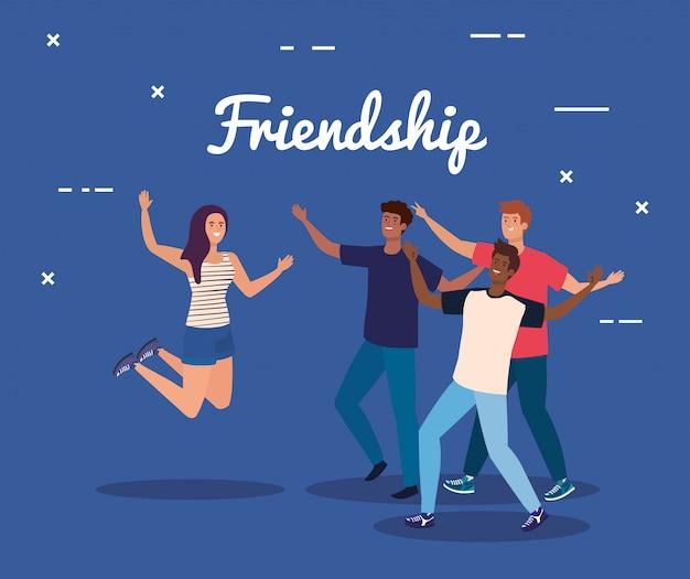 Personajes felices, hombres jóvenes con mujeres, entusiasmo por la amistad, risas alegres de felicidad.