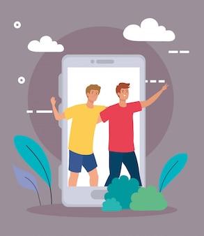 Personajes felices, hombres jóvenes en teléfonos inteligentes, entusiasmo por la amistad, celebración en línea
