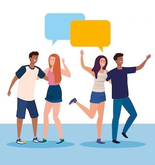 Personajes felices, jóvenes hablando, entusiasmo por la amistad, risas alegres de felicidad, con burbujas de discurso.