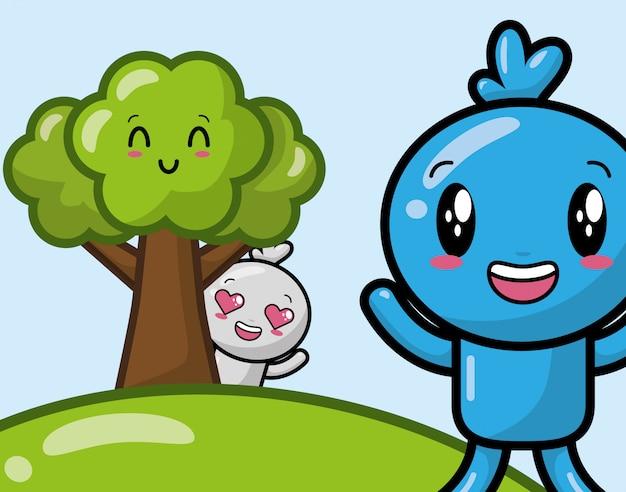 Personajes felices kawaii en el parque, estilo de dibujos animados