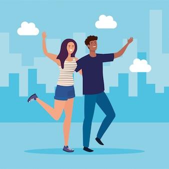 Personajes felices, mujer joven con hombre, entusiasmo por la amistad, risas alegres de la felicidad en el paisaje urbano