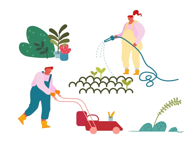 Personajes felices trabajando en el jardín de verano.