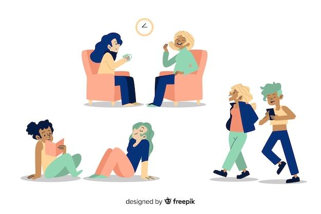 Personajes femeninos de diseño plano que disfrutan de actividades grupales