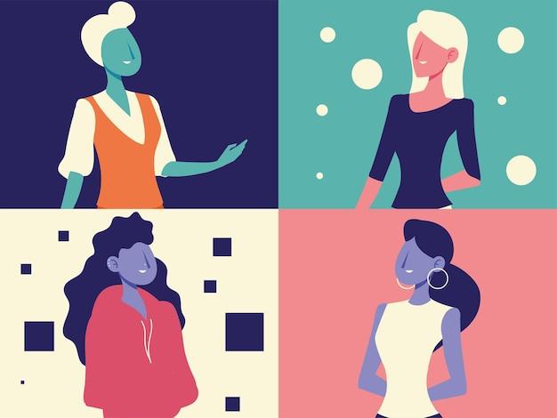 Personajes femeninos diversos retrato femenino conjunto ilustración vectorial