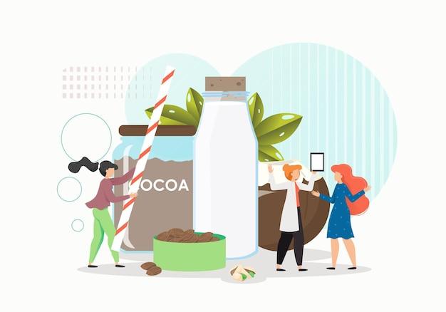 Personajes femeninos haciendo leche de chocolate, coco y almendras.