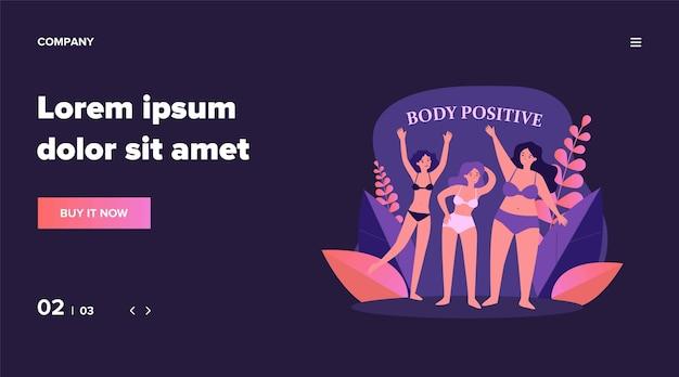 Personajes femeninos positivos del cuerpo en bikini saludando por la ilustración de las manos. felices chicas de talla grande en trajes de baño con diferentes figuras. concepto de belleza y estilo de vida activo y saludable