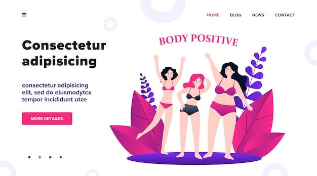 Personajes femeninos positivos del cuerpo en bikini saludando por ilustración de manos. niñas de talla grande felices en trajes de baño con diferentes figuras. concepto de belleza y estilo de vida activo y saludable