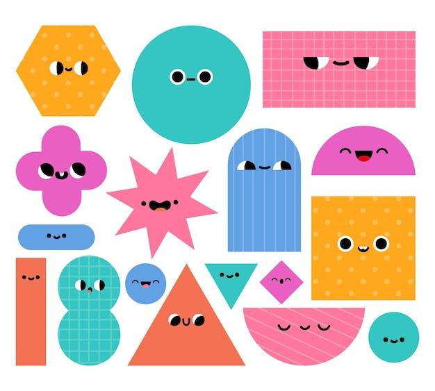 Personajes de formas geométricas. figuras de geometría abstracta básica con caras de dibujos animados. objetos educativos de moda para el conjunto de vectores de niños en edad preescolar. elementos de círculo, rectángulo, triángulo y rombo