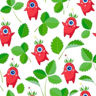 Personajes de fresa de un solo ojo y hojas sobre un fondo blanco. patrón sin costuras. un conjunto de diferentes emociones. ilustración vectorial. para textiles infantiles, estampados, fundas, diseños de envases.