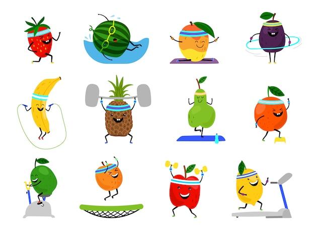 Personajes de frutas deportivas. alimentos divertidos de frutas en ejercicios deportivos, vector fitness vitamina vitamina nutrición humana saludable