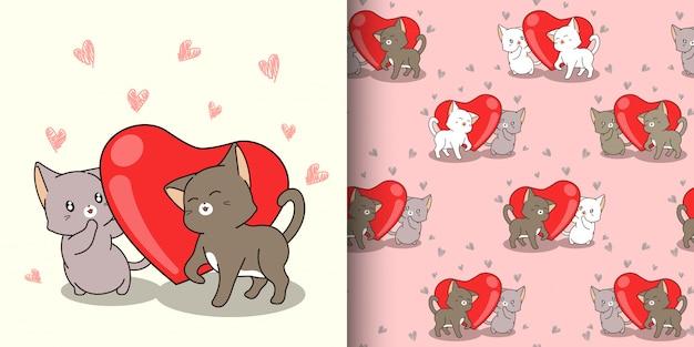 Personajes de gato kawaii de patrones sin fisuras y corazón rojo