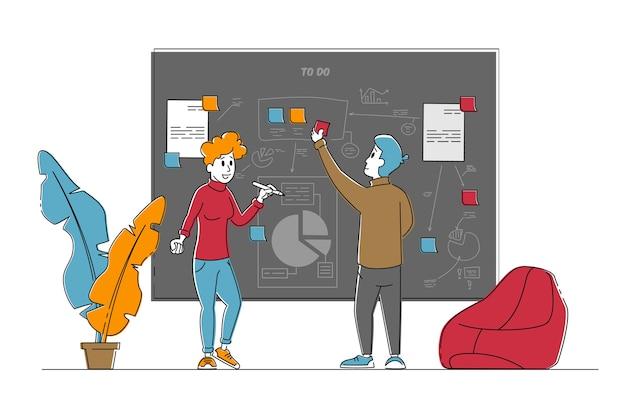Personajes de gente de negocios ponen notas adhesivas y gráficos de pintura