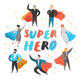 Personajes de gente de negocios de superhéroe