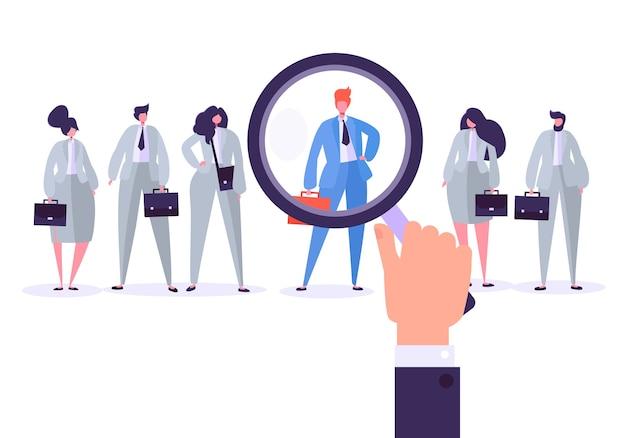 Personajes de gestión de contratación, mejor candidato para el puesto.