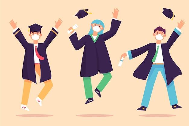 Personajes graduados y con máscaras médicas.