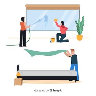 Personajes haciendo tareas domésticas, ilustración, diseño