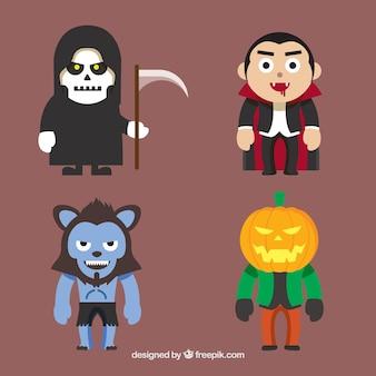 Personajes de halloween con diseño plano