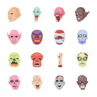Personajes de halloween iconos planos