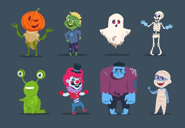 Personajes de halloween monstruos lindos y niños vestidos con disfraces de halloween.
