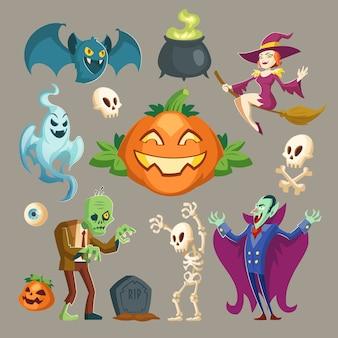 Personajes de halloween: vampiros miedosos, zombies verdes fantasmales y brujas bonitas.