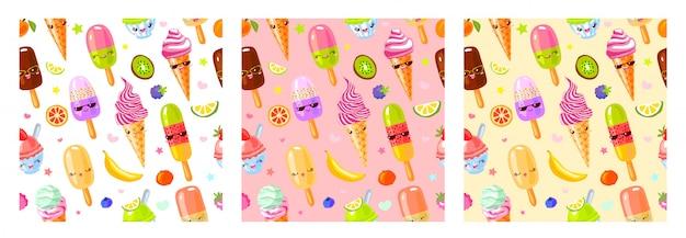 Personajes de helado lindo fruta de patrones sin fisuras. estilo infantil, fresa, frambuesa, sandía, limón, plátano fondo de color pastel. kawaii emoji, personajes, ilustración de sonrisa