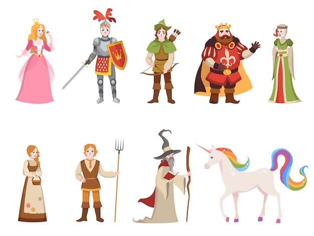 Personajes históricos medievales. caballero rey reina príncipe princesa hada castillo real dragón caballo bruja conjunto dibujos animados, colección