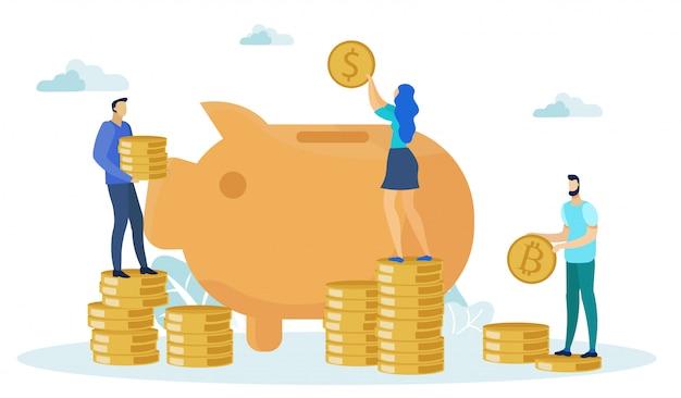 Personajes de hombre y mujer ahorrando dinero