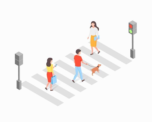 Personajes de hombre y mujer cruzan la calle en un semáforo verde