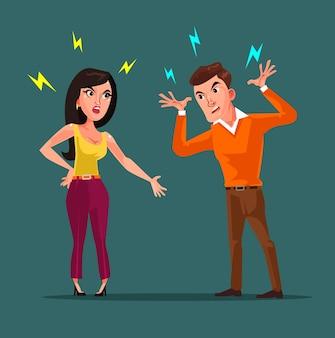 Personajes de hombre y mujer enojados peleando.