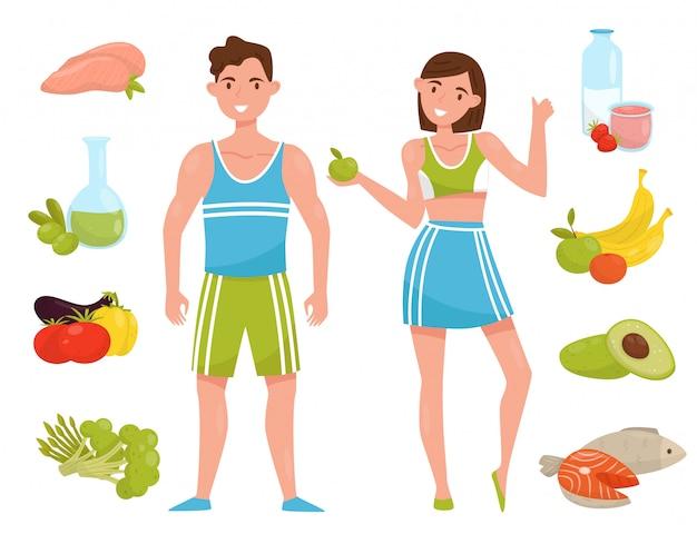 Personajes de hombre y mujer joven de fitness con alimentos saludables, personas que eligen estilo de vida saludable ilustración sobre un fondo blanco
