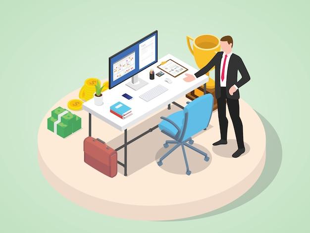 Personajes de hombre de negocios profesionales con herramientas de trabajo y mesa de escritorio con tarea de proyecto de calendario con estilo isométrico plano moderno