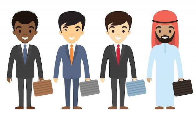 Personajes de hombres de negocios de diferentes etnias en estilo plano. personal de oficina masculino internacional.
