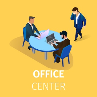 Personajes de hombres de negocios trabajando en el centro de oficina.